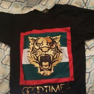 "VICTORIOUS ""good times"" tiger print tee-shirt"